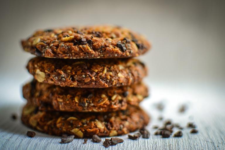 Cacao nib and chia seed flapjack cookies