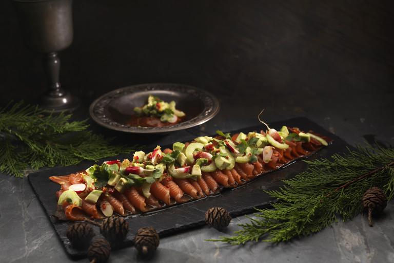 Smoked salmon with avocado, cucumber salad and oriental vinaigrette