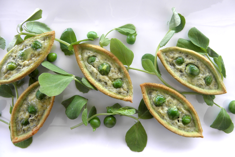 Mini pea and mint tarts