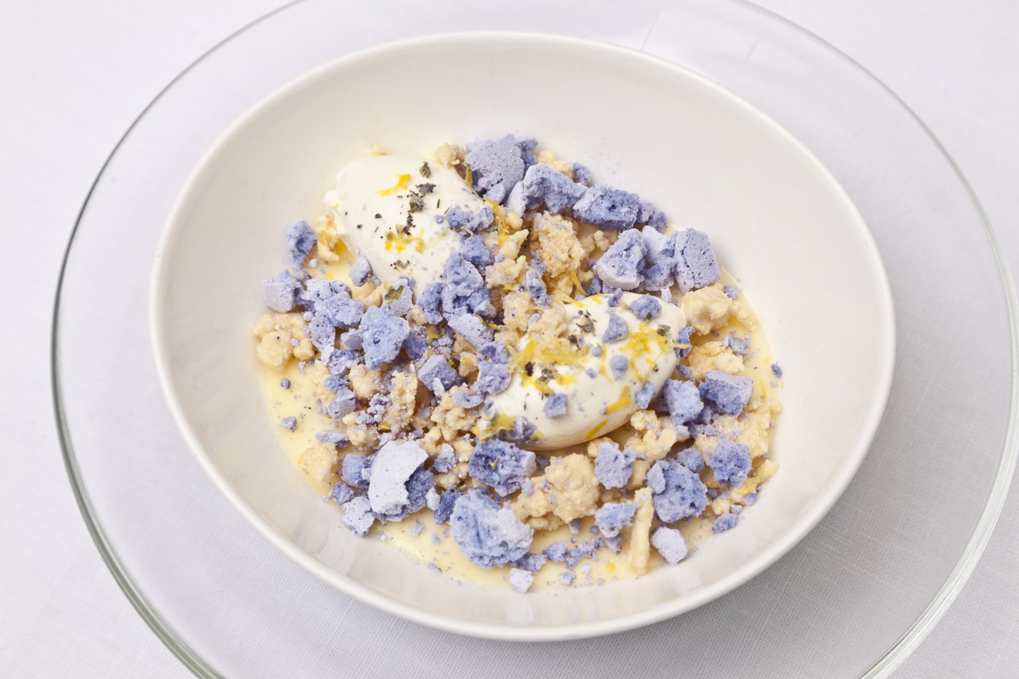 Lemon posset with white chocolate and lavender
