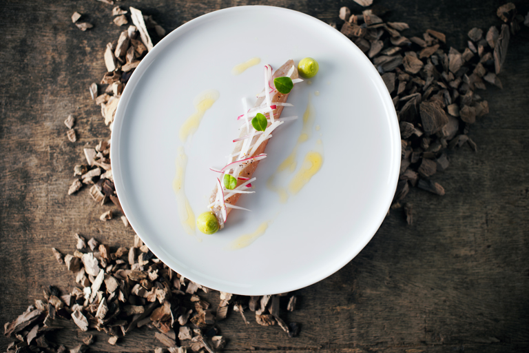 Smoked mackerel with avaocado and bergamot