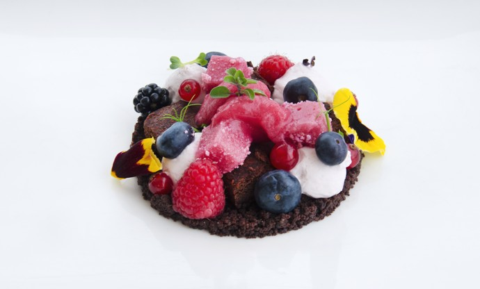 'Undergrowth' - chocolate brownie with berries, radish sorbet and lavender marshmallow