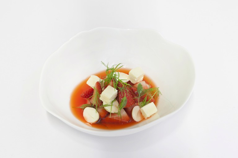 Strawberries with cobnuts and fennel