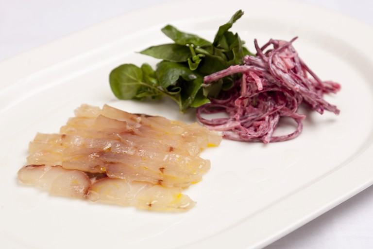 Meantime-cured bass with apple and beetroot salad