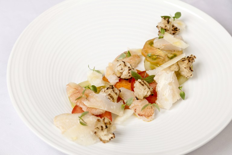 Crab with Heritage tomatoes, aged Parmesan and baby basil