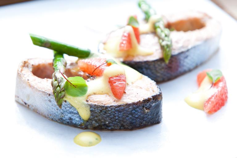 Sea trout with asparagus and pink grapefruit sabayon