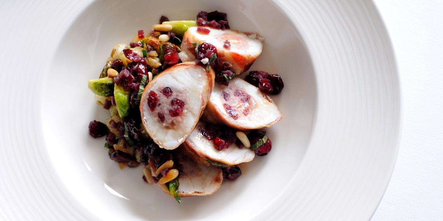 Monkfish with sage, cranberry and pine nut stuffing