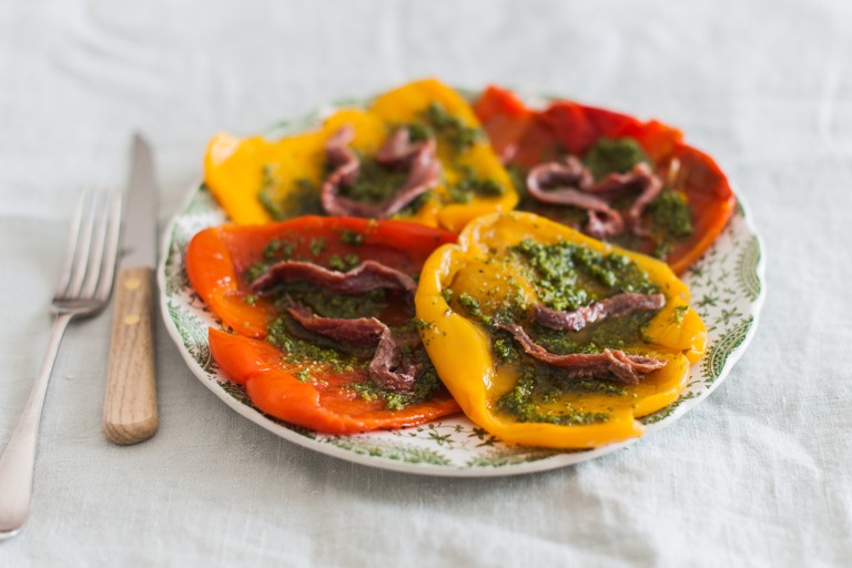 Peperoni all'Acciuga – Roasted peppers with salsa verde