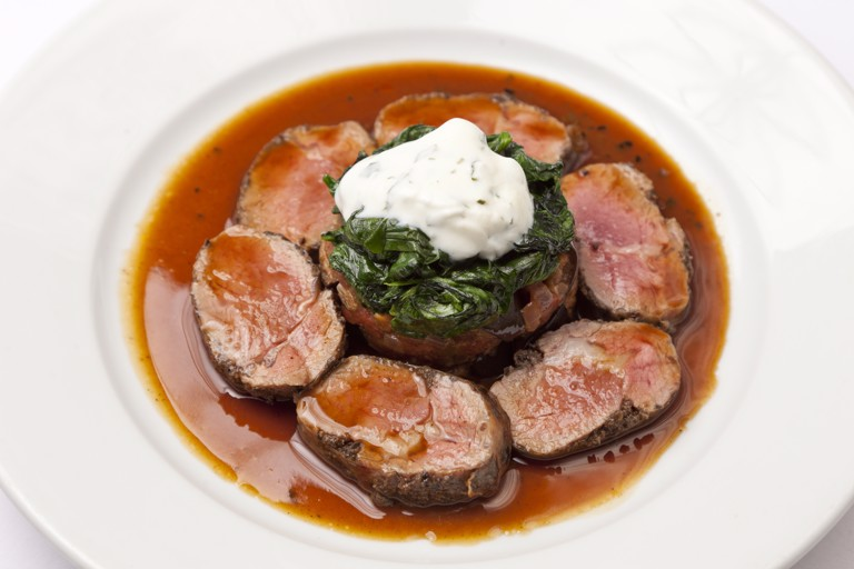 Loin of Welsh Lamb with tapenade and spiced aubergine