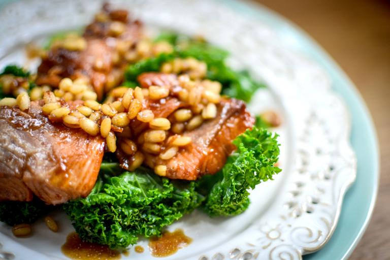 Teriyaki salmon, kale and barley salad