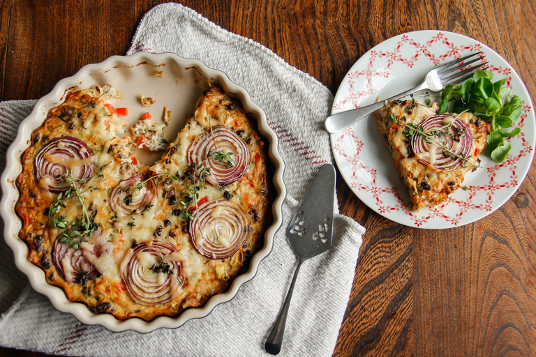 Crustless Quorn and vegetable quiche
