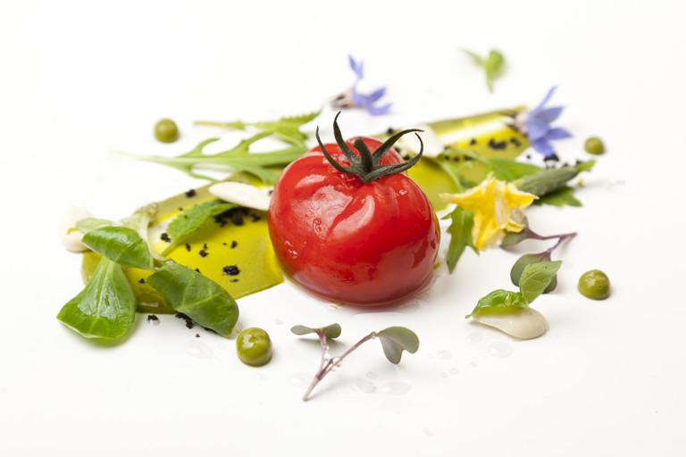 Tomato gazpacho and garden salad