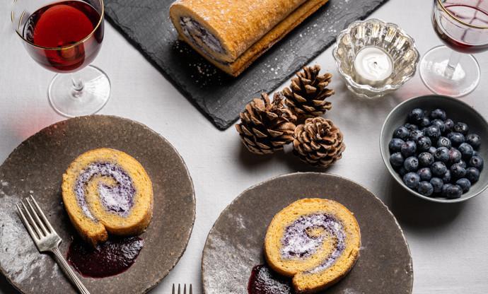 Saint Agur crème and blueberry roulade