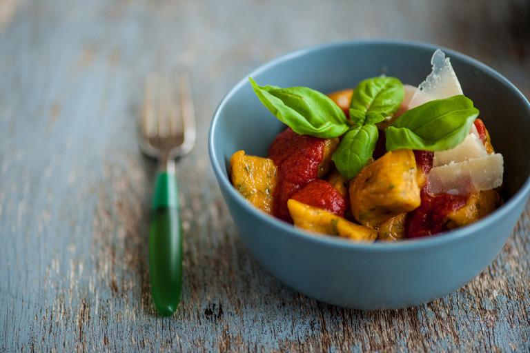 Sweet potato gnocchi with tomato sauce