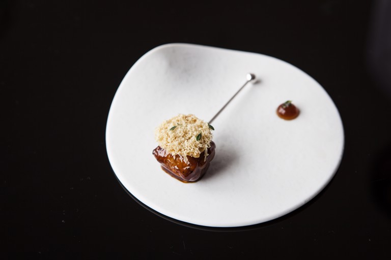 Glazed chicken wing, Cured duck liver and beer vinegar