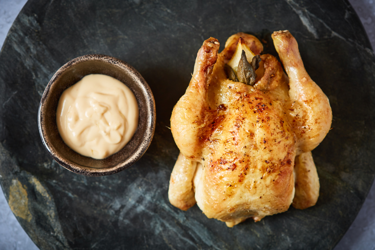 Roast poussin with chicken fat mayonnaise