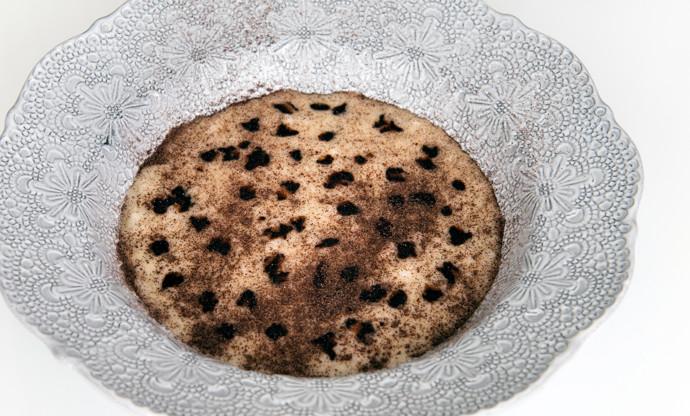 Taleggio risotto with must and radicchio powder