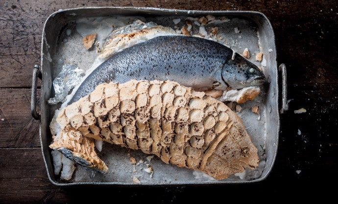 Salt-baked salmon recipe