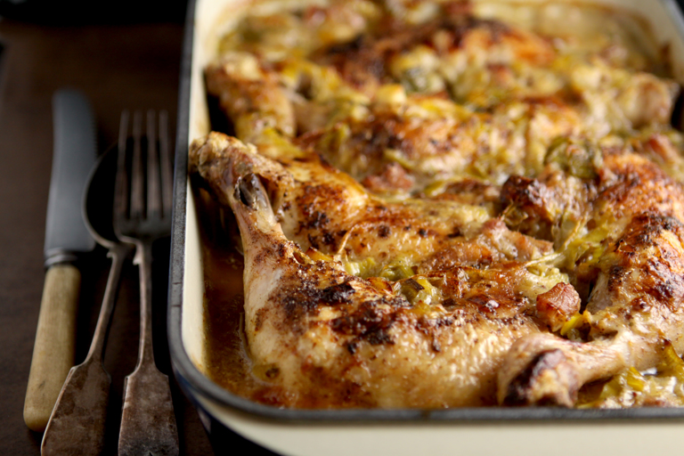 Chicken, leek, bacon and mustard bake