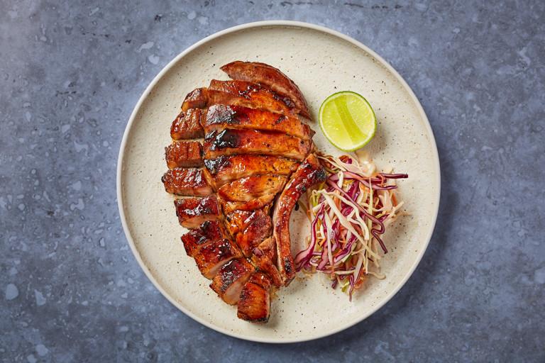 Fish sauce caramel pork chop, asian slaw