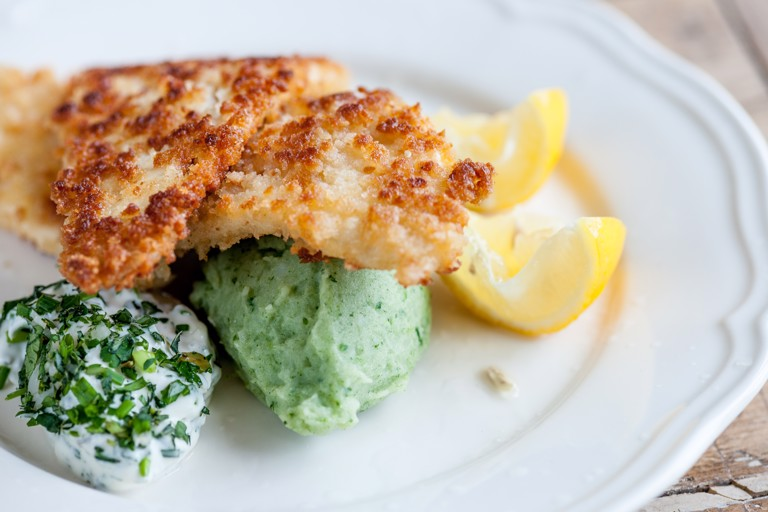 Crumbed plaice with green mash