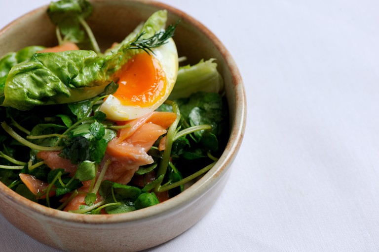 Poached salmon with watercress