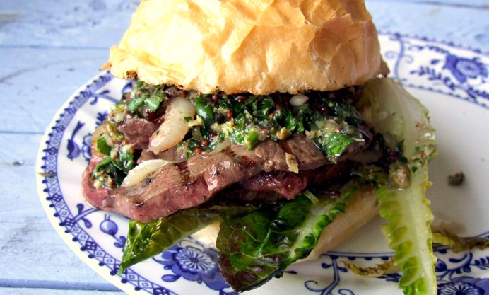 BBQ Ox Heart Sandwich