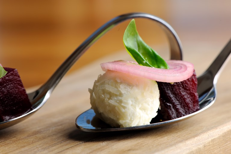 Pickled beetroot and sheep's cheese salad
