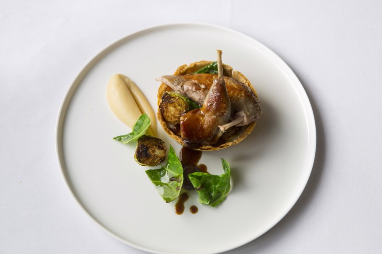 Partridge, spiced quince, parsnip tart and mulled juices