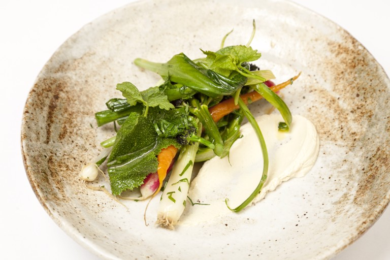 Summer vegetables with smoked cheese and herbs