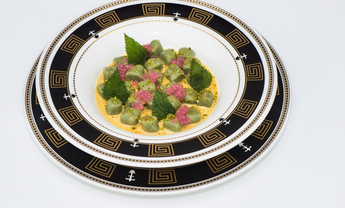 Nettle gnocchi with fois gras cream and grape caviar
