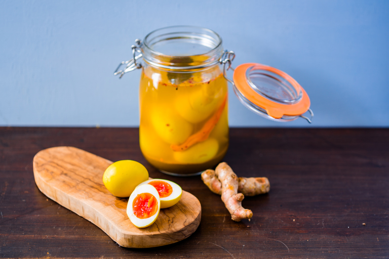 Curried pickled eggs