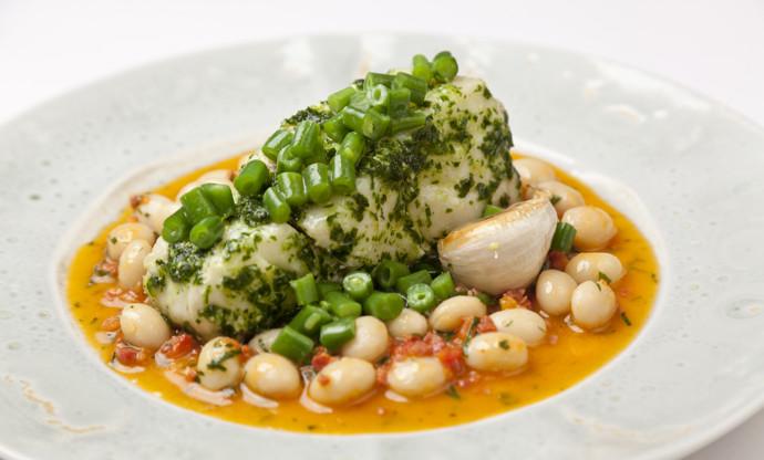 Cod with chorizo and white beans