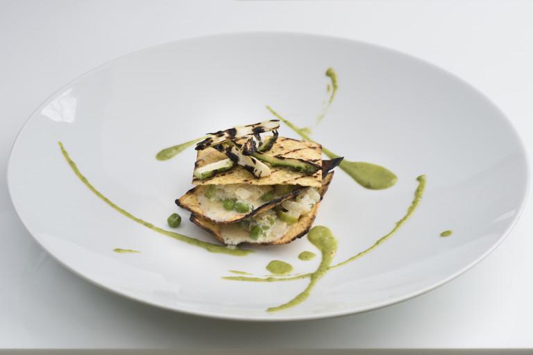 Crunchy polenta, asparagus and peas