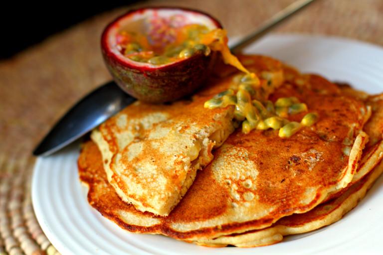 Buckwheat, banana and passion fruit pancakes