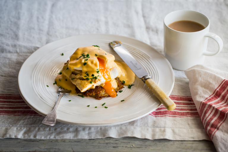 Pan-fried haddock with potato cake, poached egg and hollandaise