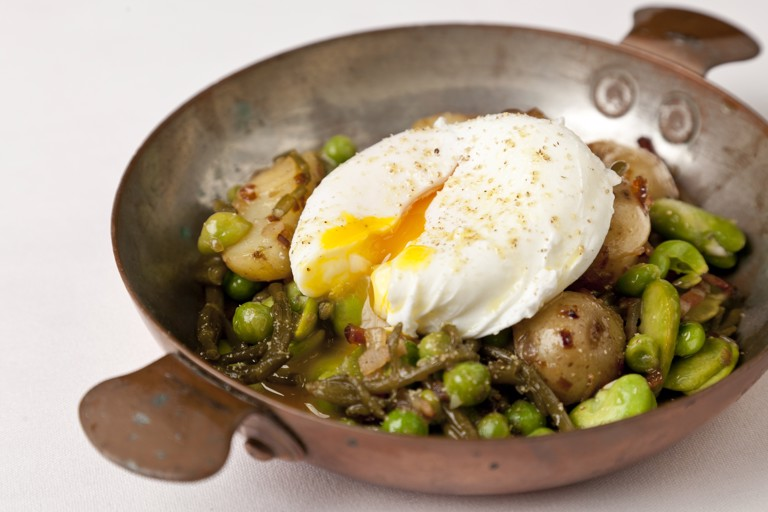 New potatoes with bacon, samphire and broad beans