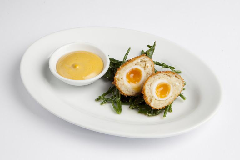 Smoked cod Scotch eggs with aioli