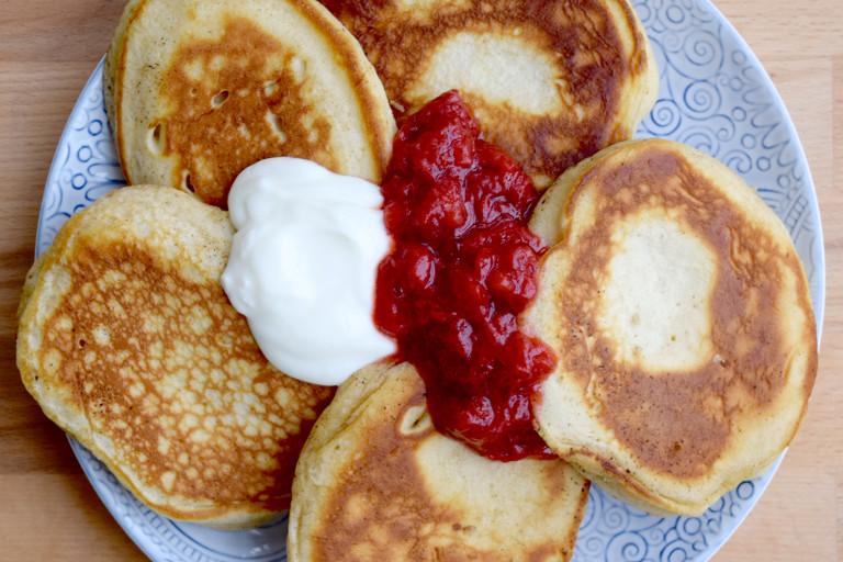 Norwegian surmelkslapper with strawberry compote & creme fraiche