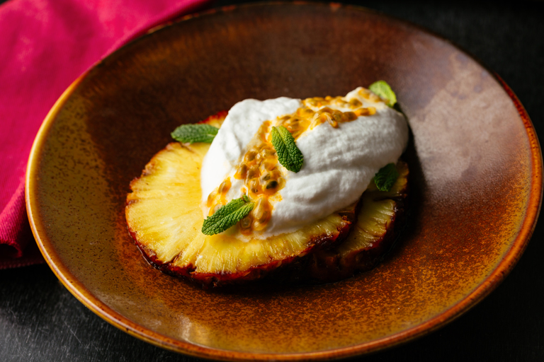 Coconut mousse with passion fruit, lime and roasted pineapple