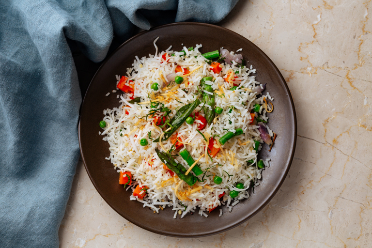 Keralan coconut rice with Travencore vegetables