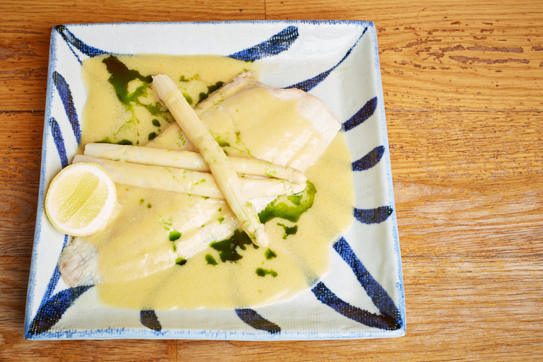 Dover Sole and white asparagus in miso butter