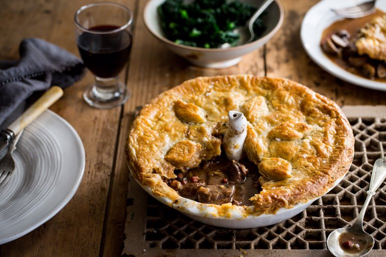 Pigeon pie with Madeira and wild mushrooms